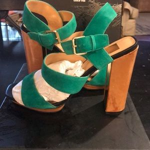 Dolce Vita Kelly green suede heeled sandals